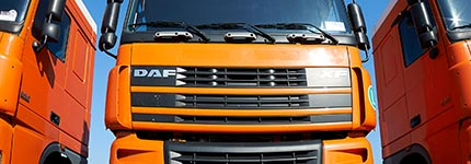 orange DAF tractor unit