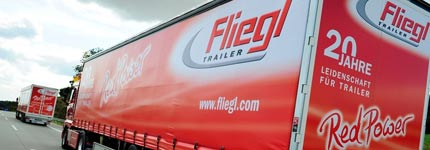 Backside of Fliegl trailers