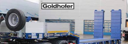 Goldhofer low loader in front of Goldhofer manufacturer building
