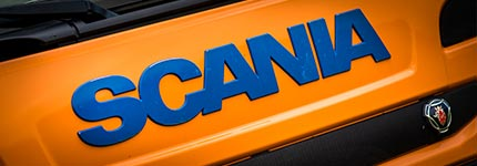 Orange Scania front grill